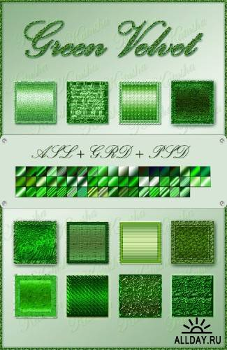 Стили и градиенты для Photoshop - Зеленый бархат