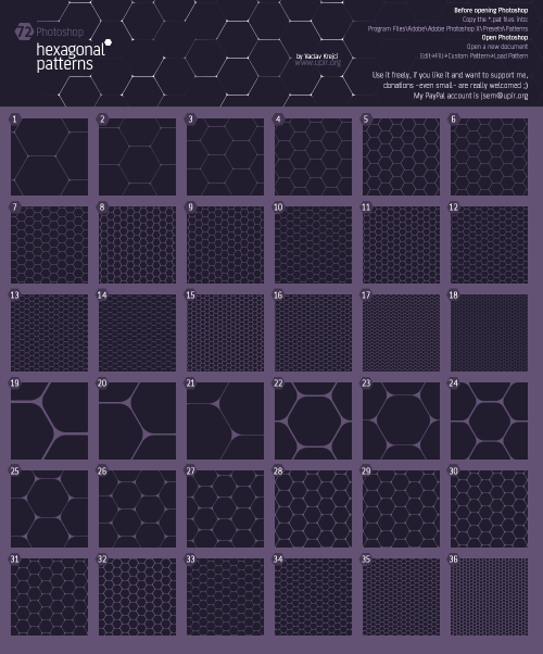 72 Hexagonal honeycomp patterns
