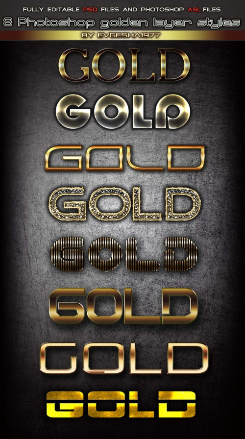 8 Gold layer styles for photoshop