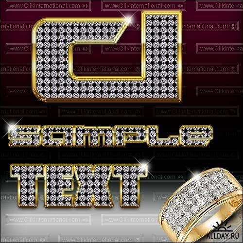 Diamond Style Collection - Драгоценные, бриллиантовые стили для Photoshop
